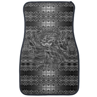 Black And White Fantasy Owl Camouflage Car Mat