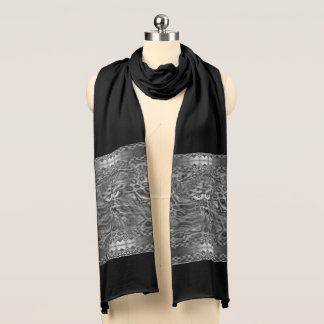 Black And White Fantasy Owl Camouflage Scarf