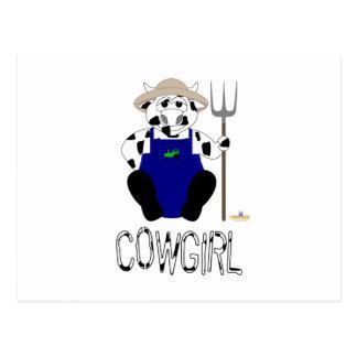 Black And White Farmer Cow Black White Cowgirl Postcards