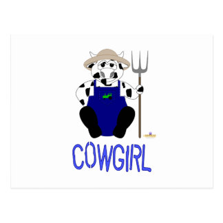 Black And White Farmer Cow Blue Cowgirl Post Card