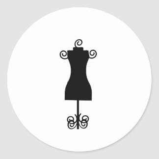 Black and White Fashion Dress Mannequin Classic Round Sticker