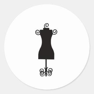 Black and White Fashion Dress Mannequin Round Sticker