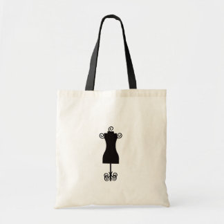 Black and White Fashion Dress Mannequin Budget Tote Bag