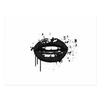 Black and white fashion glamour lips illustration postcard