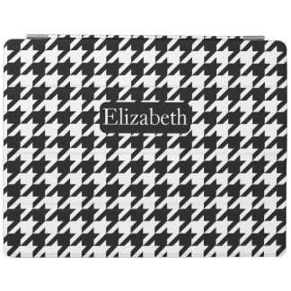 Black and White Fashion Houndstooth and Name iPad Cover