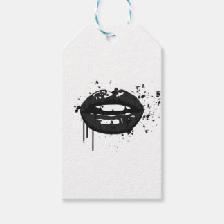 Black and white fashion lips gift wrapping gift tags