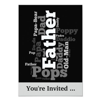 "Black and White Father Word Collage 3.5"" X 5"" Invitation Card"
