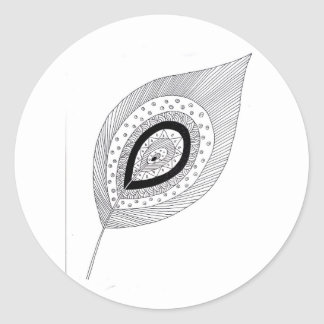 Black and white feather doodle classic round sticker