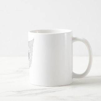Black and white feather doodle coffee mug