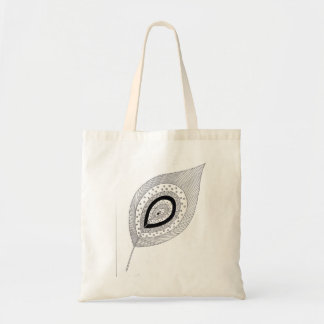 Black and white feather doodle tote bag