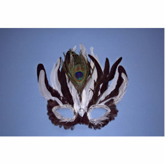 Black and white feather mask photo cutout