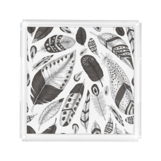 Black and white feathers pattern acrylic tray