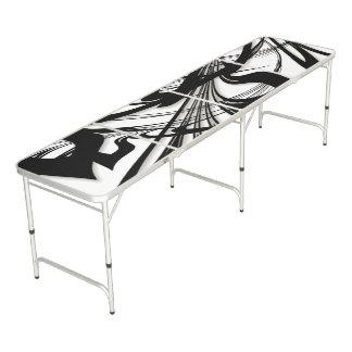 Black and White Fern Glen Beer Pong Table