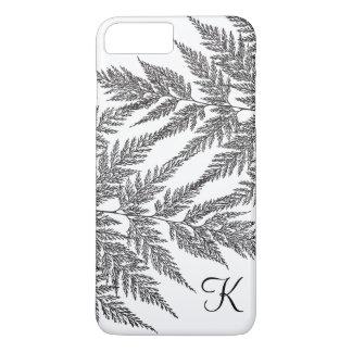Black and White Fern Silhouette Monogram iPhone 8 Plus/7 Plus Case