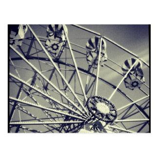 Black and white ferris wheel postcard