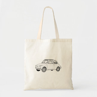 Black and White Fiat 500 Pencil Style Drawing Tote Bag