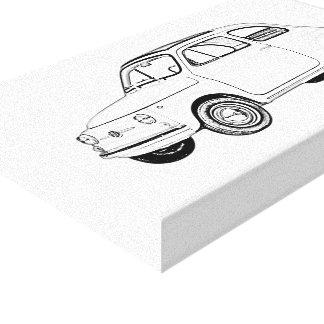 Black and White Fiat 500 Topolino Drawing Canvas Print