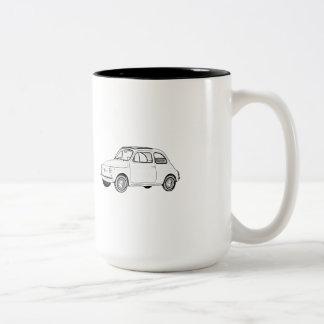 Black and White Fiat 500 Topolino Drawing Two-Tone Coffee Mug