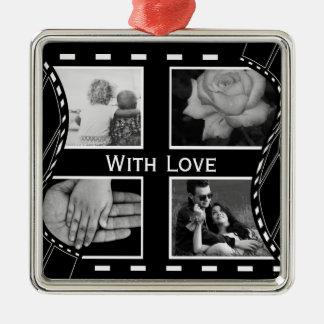 Black and White Film Reel Metal Ornament