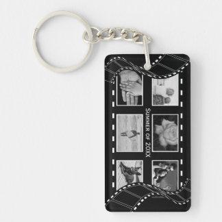 Black and White Film Reel Single-Sided Rectangular Acrylic Key Ring