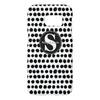 Black and White finger-painted Polka Dots