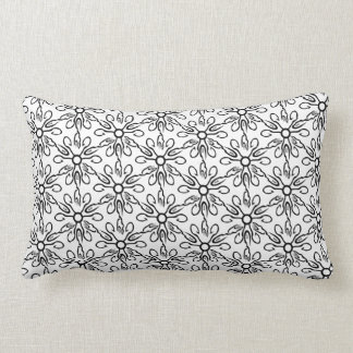 Black and White Fish and Hook Pattern Lumbar Cushion