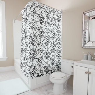 Black and White Fish and Hook Pattern Shower Curtain