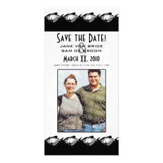 Black and White Fish Save The Date Personalised Photo Card