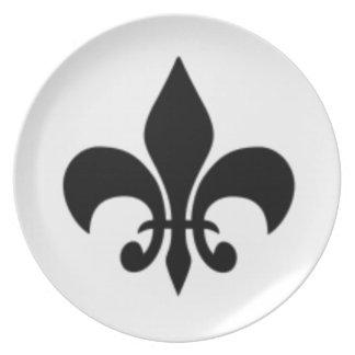 Black And White Fleur De  Lis Dinner Plate
