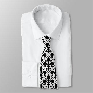 Black and White Fleur de Lis French Classic Tie