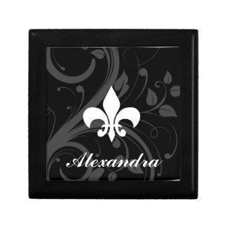 Black and White Fleur De Lis Keepsake Trinket Box