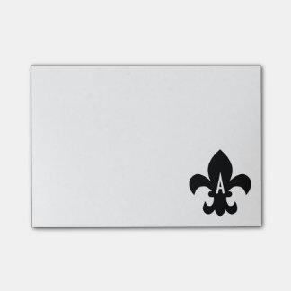 Black and White Fleur de Lis Monogram Post-it Notes