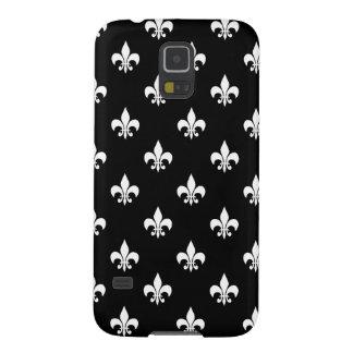 Black and White Fleur de Lis Pattern Galaxy S5 Cover