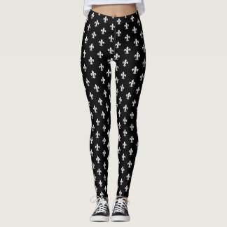 Black and white fleur de lis pattern leggings