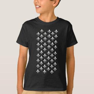 Black and White Fleur de Lis Pattern T-Shirt