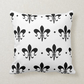 Black and White Fleur de Lis Pattern Throw Pillow