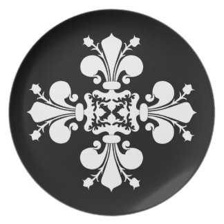 Black and white   Fleur de lis Plates