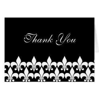 Black and White Fleur de Lis Thank You Card