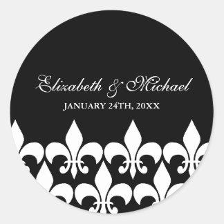 Black and White Fleur de Lis Wedding Favor Label