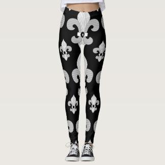 Black and White Fleur de Lys Design Leggings