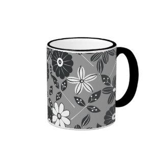 Black And White Floral Background Ringer Mugs
