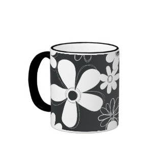Black And White Floral Background Ringer Mugs