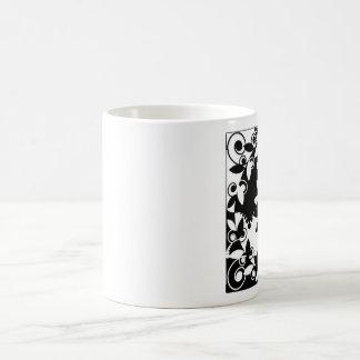 Black and White Floral Basic White Mug