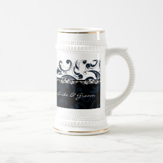 Black and White Floral Beer Stein