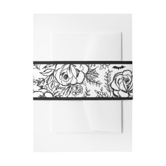 Black and White floral belly band Invitation Belly Band