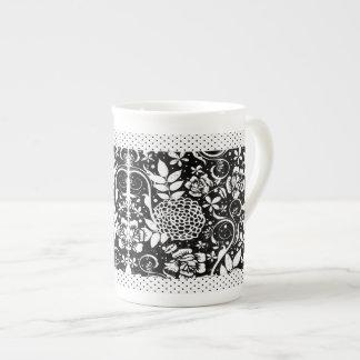 Black and White Floral Bone China Mug