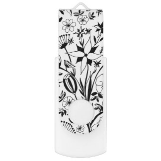 Black and white floral bouquet USB flash drive