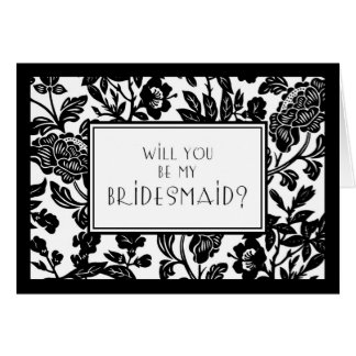 Black and White Floral Bridesmaid Invitation Card