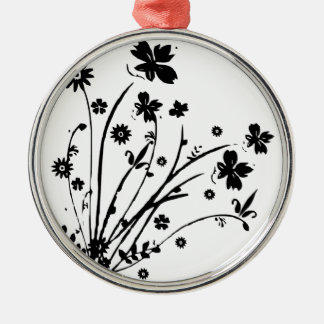 Black And White Floral Burst Christmas Ornaments