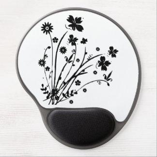 Black And White Floral Burst Gel Mouse Mat